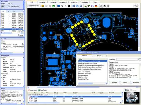 """Hier sehen Sie den ergonomischen Aufbau von ViPRA. Das PCB wird deutlich mit allen Informationen angezeigt, inklusive der Testnadel Platzierungen. Ein """"Navigator"""" lässt den Reparateur Bauteile, Netze, Nadeln etc. finden. Fehler- und Tester-Informationen sind ebenfalls leicht zu sehen. Eine Reihe von Registrierkarten geben schnellen Zugang zu zusätzlichen Informationen, wie Schaltplan, Stückliste und anderen relevanten Dokumenten."""