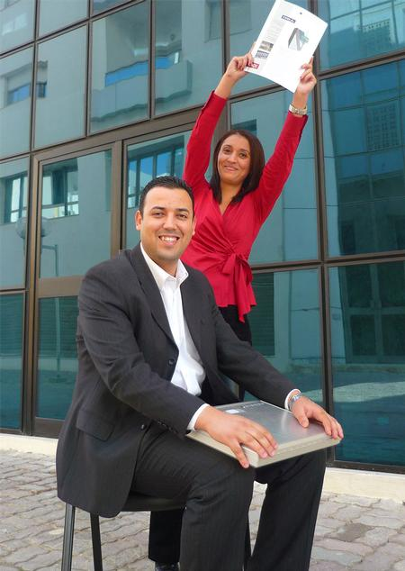 Mohamed Aymen Fodda, Technical Support and Mouna Saadouli, Sales Assistance, in front of the Viscom office Tunis.