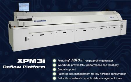 The XPM3 reflow ovens feature a robust design combined with a unique heat transfer system. Each of the systems has 10 heating zones and three cooling zones, and one of the ovens is nitrogen capable.