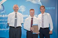 From left: Dr. Claus Jessen (Head Product Supply / Festo), Andreas Gimmer (Managing Director / Würth Elektronik) and Peter Beil (Head of Global Purchasing / Festo) at the handover of the Festo Elite Supplier Award 2012