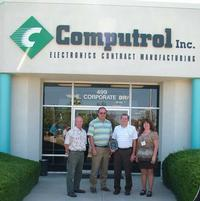 From left to right: Randy Smith, Computrol Materials Manager; Charlie Scott, Computrol President ; David Mudrow, Jedcor; Tara Quinn, Computrol Purchasing Manager.