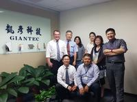 Europlacer's Mark Briant (left) alongside Giantec President Jerry Lin (second from left) and his team at the Giantec office in Taoyuan City, Taiwan.