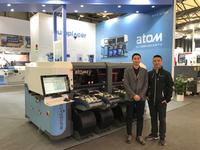 Lin Dong (left) and Sean Zhang (right) at Europlacer's booth in Productronica China 2019.