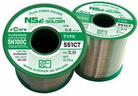 SN100C (551CT) fluxed-cored solder wire combines the benefits of a eutectic lead-free alloy with a robust, high-temperature capable cored flux for high-speed sequential soldering.