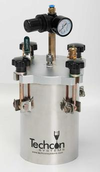 TS1254 pressure pot, designed to accommodate low to medium viscosity fluids, including solvents, adhesives and Cyanoacrylate (CA).