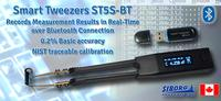 Smart Tweezers Bluetooth ST5S-BT sends measurement results and can receive test device settings over a remote connection.