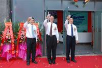 Nordson leaders celebrate the opening of the company's newest facility in China. From left to right: Leyu Louis, Sales & Business Development Manager (Bondtester Division) Nordson DAGE; Greg Wood, Vice President, Nordson Advanced Technology Group, Asia; and Frank Wang, General Manager, Greater China Nordson ASYMTEK